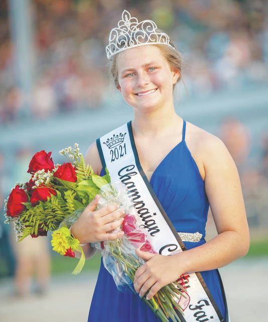 Champaign County Fair Queen Lauran Bailey is pictured Sunday evening at the grandstand.