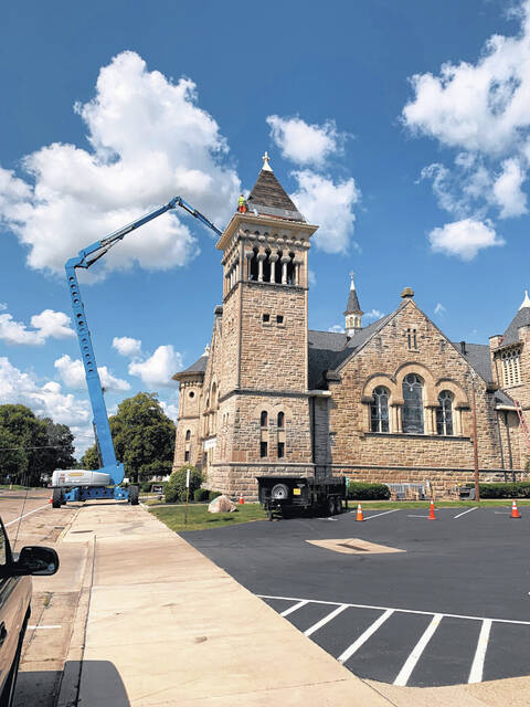 First Presbyterian Church in Urbana is getting a new roof.