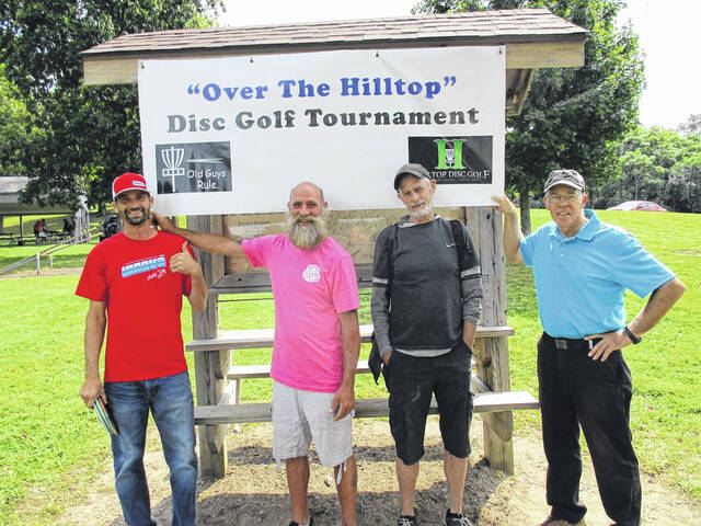 """""""Over The Hilltop"""" Disc Golf Tournament was held on Saturday at Melvin Miller Park. Winners in the tournament pictured from left are Will Link (40+), Andy Sherman (50+), Jerry Perry (60+), Dennis Hills (70+)."""