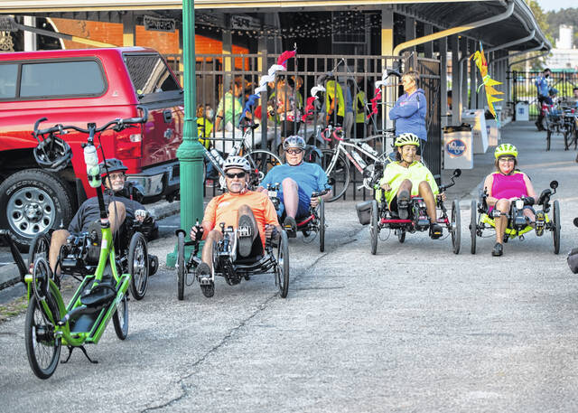 Bicyclists on recumbent models are shown during the recent Bike Tour.