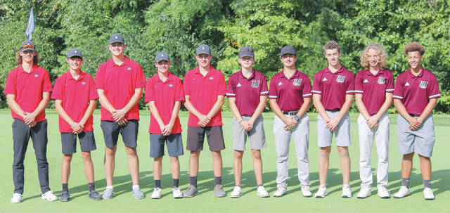 Pictured are the Graham (five on left) and Urbana boys golf teams. Both squads qualified for next week's Division II district tournament.