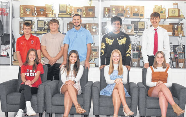 It's homecoming week at Triad High School. Pictured are court members (front row from left): Freshman Ashtyn Millice, Senior Attendant Lillian Hill, Senior Attendant Afton Osterholt, Senior Attendant Morgan Swiatek; (back row): Freshman Jacob Kohler, Junior Chase Hecker, Senior Attendant Ayden Spriggs, Senior Attendant Diego Hernandez, Senior Attendant Carson Manley; (not pictured): Junior Cameryn Allison, Sophomore Jalynn Smith, Sophomore Owen Veith. The winners will be honored at tonight's homecoming game against visiting Mechanicsburg.
