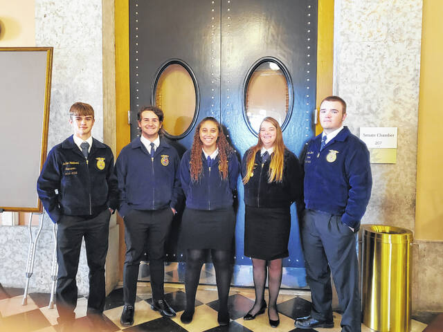 Pictured Left to Right: Jonathan Hildebrand, Bryce Stambaugh, Kendra Baccus, Faith Denkewalter and Nathan Deere.