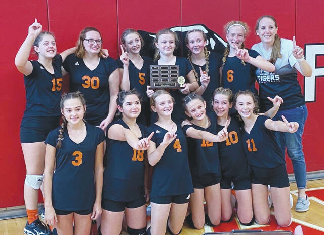 The WL-S 7th grade volleyball team (pictured) claimed the OHC tournament title.