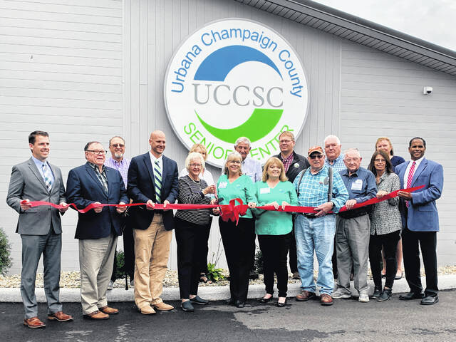 Senior Center members and the public gathered for a ceremonial ribbon cutting during the grand opening on Thursday.