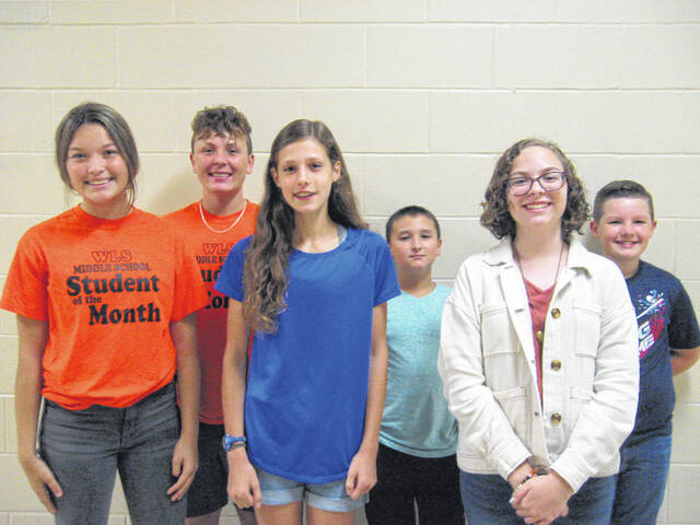 West Liberty-Salem Middle School has awarded their September Students of the Month. Left to right are: 8th Grade: Taylor Cook & Bryant Eaton; 7th Grade: Mariska Smith & Xzavior Nicholl; 6th Grade: Ashlyn Taylor & Jerome Cordrey