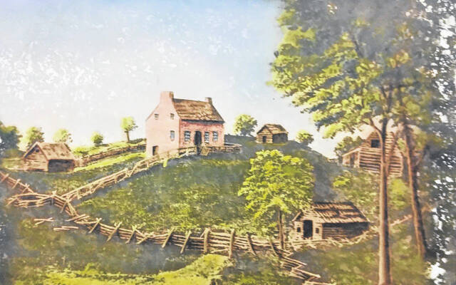 This is a photo of a print of a painting of the Arrowsmith Homestead. The date and artist of the painting are unknown.