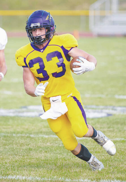 Mechanicsburg's Jake Hurst (pictured) rushed for 254 yards and three touchdowns in a 34-7 win over visiting Northeastern Friday night.