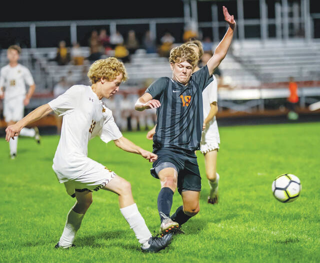 WL-S's Owen Johnson attempts to control the ball against visiting West Jefferson.
