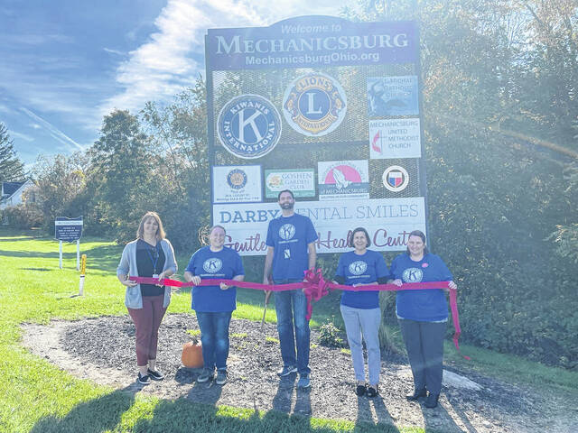 Pictured left to right: Amy Kerrigan, Rebecca Wilden, Jeff Coaty, Jenny White, and Roni Burden. The Champaign County Chamber of Commerce held a ribbon-cutting ceremony for the new Kiwanis Club sign on Thursday, September 30. The new Kiwanis Club sign is located at the entrance of Mechanicsburg on state Route 29. To stay up to date and learn more about the Kiwanis Club of Champaign County follow their Facebook page at https://www.facebook.com/ChampOhKiwanis.