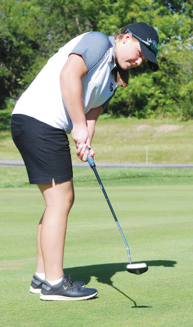 Graham's Zoey Merritt (pictured) shot a 46 against Urbana earlier this season. She shot an 82 and placed eighth at the Division II district tournament on Oct. 6 at Pipestone.
