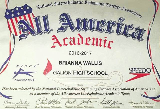 Bri Wallis earned All American Academic honors from the National Interscholastic Swimming Coaches Association of America in 2016-2017.