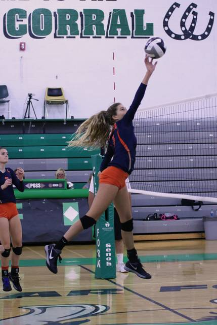 Erin Miller | Galion Inquirer Galion's Samantha Comer throwing down one of her 10 kills on the night at Clear Fork on Thursday. The Lady Tigers defeated the Lady Colts in three sets and remain unbeaten in the MOAC.