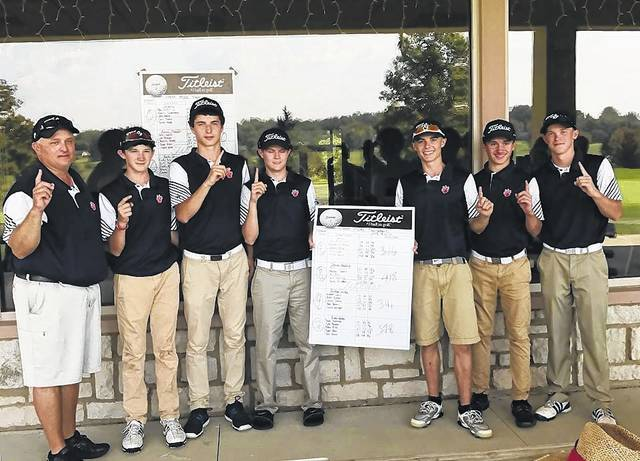 Submitted photo 2017 MOAC golf tournament and conference champions: The Galion Tigers Pictured from Left to Right: Coach Bryce Lehman, Matthew McMullen, Jack McElligott, Matt Kingseed, Mitch Dyer, Spencer Keller and Kaleb Harsh