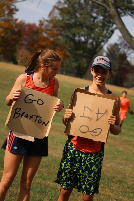 Photo courtesy of Noresa Nickels AJ Nickels and Braxton Tate will be moving on to the regional cross country meet in Tiffin next Saturday, Oct. 28. From the picture, you can tell that they are fans of one another.