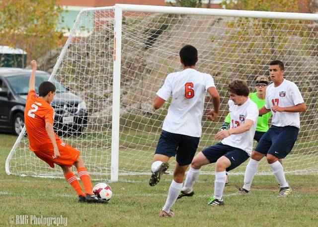 A host of Tigers defenders look to prevent a Mansfield Senior shot on goal during their contest on Wednesday afternoon in Galion.  The visiting Tygers won the game; 2-0.