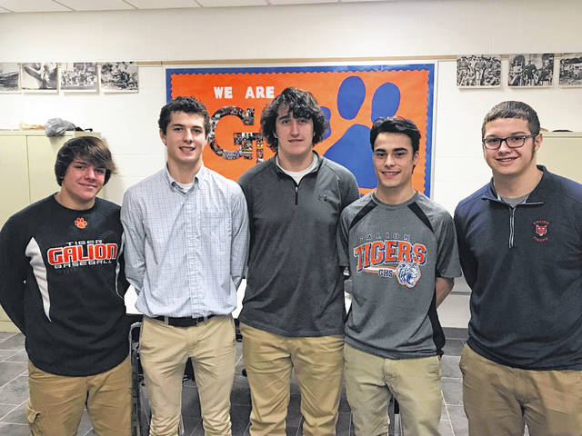 Pictured are GHS students Ryan Utz, Jack McElligott, Tristan Williams, Austin Sherman, and Karson Rinehart.  Williams and McElligott were declared winners of a first time Mock Election held last week at Galion High School for teacher Mike Moore's Modern History Conflicts class.