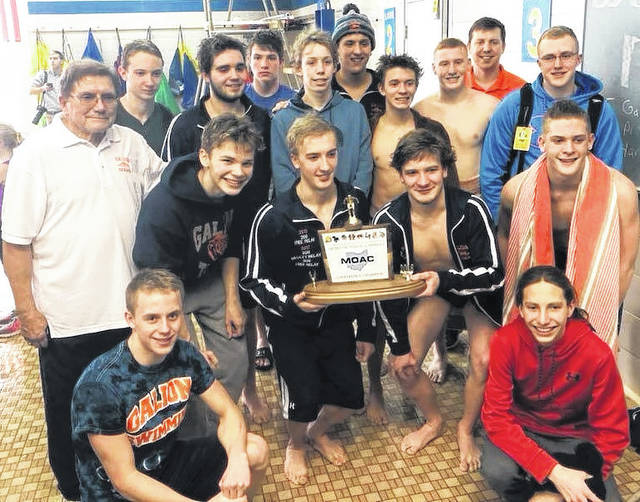 Submitted photo Not one, not two, not three but now four MOAC swimming titles in a row for the boys team from Galion. The Tigers outlasted Ontario to take home the title for yet another year on Saturday, January 20 at Ontario High School.