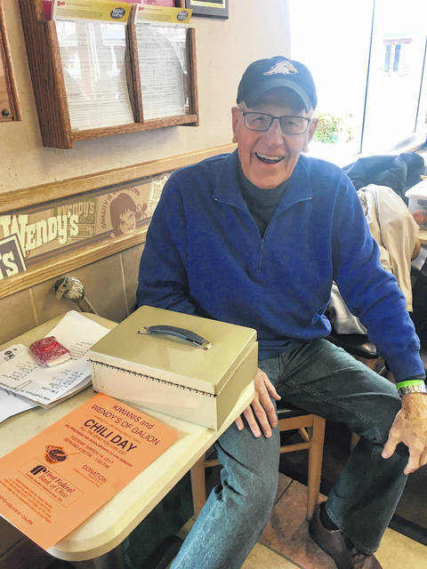 Courtesy photo Long-time Galion resident and Kiwanis member Lonnie Eagle is shown at last year's Chili Day fundraiser at Wendy's in Galion. The annual event will take place on Tuesday March 13 and was renamed in honor of Eagle who passed away last year.