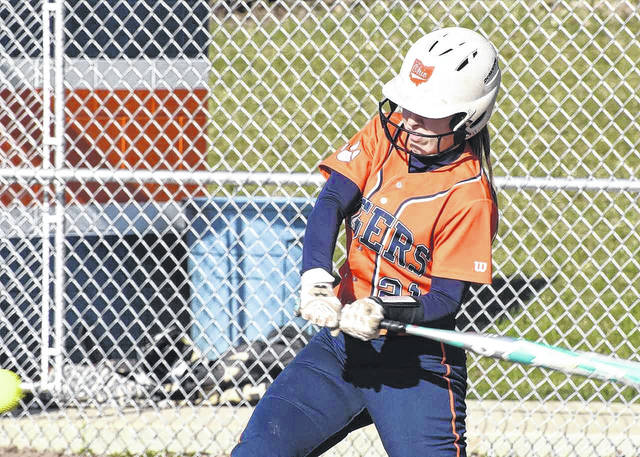 Don Tudor | Galion Inquirer The Galion Lady Tigers Gabby Kaple had quite a game for the home team on Thursday, April 19 against the visiting Clear Fork Lady Colts. Kaple finished with a single, a double, two runs scored and a stolen base in the Tigers 6-3 victory.