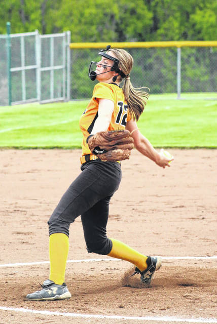 Erin Miller | Galion Inquirer Sydney Studer, shown in here in district semifinals action against Crestview, was the only Colonel Crawford baseball or softball player to earn all-conference, first-team honors in the Northern-10 Athletic Conference this season.