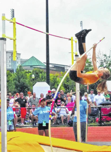 Chad Clinger | Galion Inquirer Northmor's Hope Miracle capped her high school career with a share of eighth place in the Division III girls pole vault at the state meet on Friday, June 1. Miracle went 10-feet, 6-inches en route to earning her All-Ohio spot for the Lady Golden Knights.