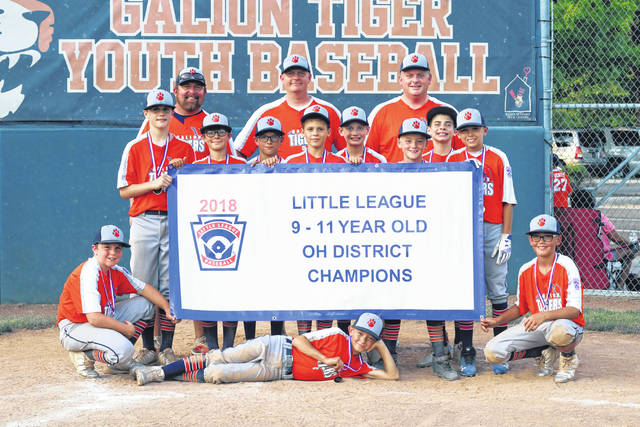 Erin Miller | Galion Inquirer The Galion 11U All Star team won the District 7 title last Saturday at Heise Park defeating Bellevue in two games, 21-0 and 15-0. Pictured are (front) Jimmy Hardy, Arius Swaim, Braxton Prosser; (standing) Carter Walters, Max Albert, Quinn Miller, Carson Campbell, Johnathan Maran, Landyn Prosser, Jacob Chambers. Coaches Tom Swaim, Ryan Albert and Sean Walters. The team will now head to the Ohio Little League State Tournament in Ironton with games beginning on July 28.