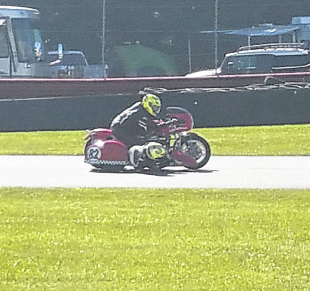The sidecar motorcycles took part in the racing at Mid-Ohio Sports Car Course during Vintage Motorcycle Days, which ran from July 6-8.