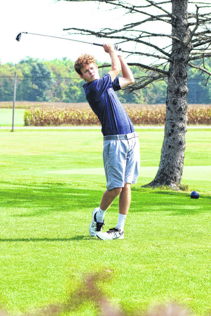 Erin Miller | Galion Inquirer Galion senior Matt Kingseed teeing off during the Mid-Ohio Athletic Conference golf tourney at Valley View on Thursday. Kingseed and his fellow Tigers shot a school-record score of 294 to far surpass the conference competition in the annual tournament.