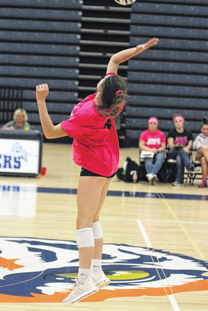 Erin Miller | Galion Inquirer Galion's Jaden Ivy goes up for one of her kill attempts during Thursday's conference match against the visiting Clear Fork Lady Colts. Ivy and the Lady Tigers would defeat Clear Fork in four sets to improve to 14-3 overall on the season.