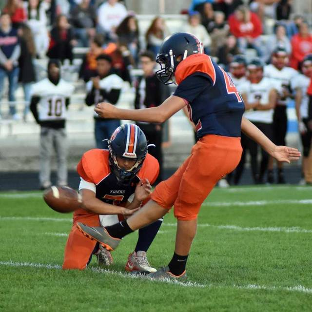 Don Tudor | Galion Inquirer Galion's Dominic Pittman came up big for the Tigers on Friday night against visiting Harding. Pittman converted all four of his extra-point attempts and hit a 25-yard field goal in the second quarter as the blue and orange picked up their first MOAC victory of the season; 31-28.