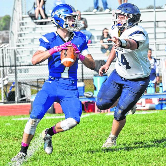 Don Tudor | Galion Inquirer Kaden Ronk took a few snaps as quarterback for the Crestline Bulldogs on Saturday as they shutout the visiting St. John Fighting Herald; 52-0. In the victory, the 'Dogs posted over 550 yards of total offense to improve to 3-4 on the season.