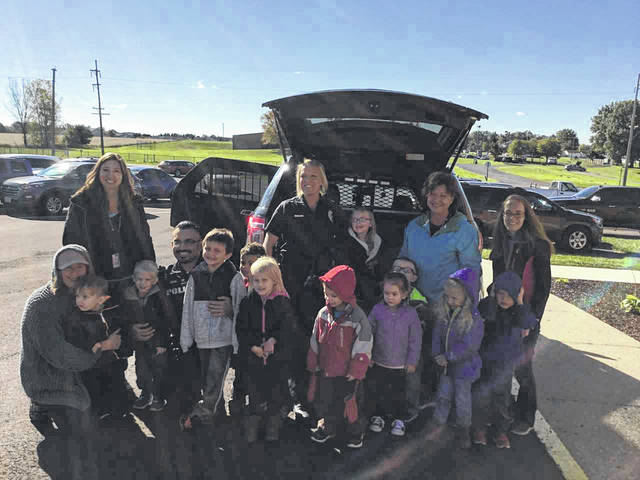 Courtesy photo Students at Fairway Preschool enjoyed learning about safety from members of the Bucyrus police and fire departments on Oct. 18.