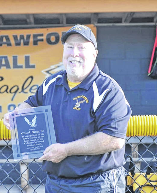 Courtesy photo Long time Colonel Crawford softball coach Chuck Huggins, pictured here after receiving his 600th win plaque, announced last week that he would be retiring from the coaching ranks. Huggins career ran for 31 years in which he accumulated a record of 633-222.