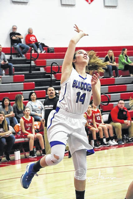 Photo courtesy of Robyn Almanson Crestline junior Lauryn Tadda broke the single-game scoring record on Tuesday evening against the visiting Temple Christian Lady Crusaders. Tadda surpassed Amanda Ronk's previous mark of 34 points by scoring 38 in the Lady Bulldog's 64-56 win.