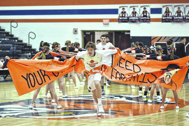 Don Tudor | Galion Inquirer Seniors Gage Lackey and Jack McElligott lead the way into battle for the hometown Galion Tigers ahead of Saturday's non-conference meeting with the Cardington Pirates. Lackey, McElligott and the rest of the Galion squad would have no issues with their guests as they cruised to a 67-43 victory.