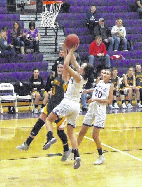 Mount Gilead's Holly Gompf scored from both inside and outside in tallying 25 points in Saturday's home win against Northmor.
