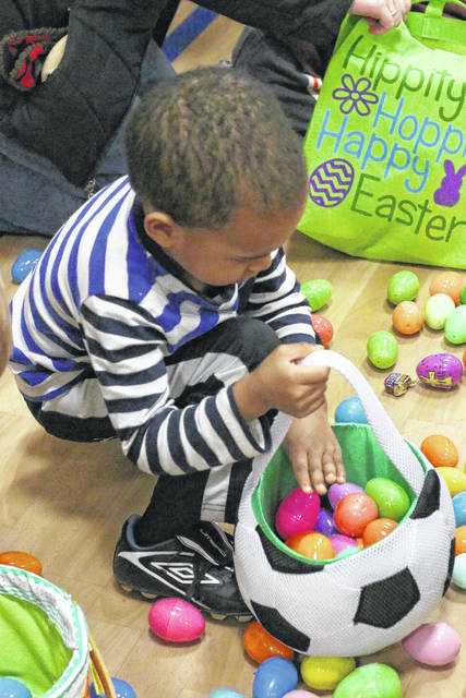 Erin Miller | Galion Inquirer Dozens of Galion-area children took part in recent Easter egg hunts in, including this child at Galion Primary School, who took part in the annual hunt sponsored by Wesley Chapel in 2017. Wesley Chapel will hold its annual Easter Egg-stravaganza Saturday April 20th beginning at 2 p.m. at their property on Dawsett Avenue, between First Egg Second avenues. This event is for children ages 0-12 years old and includes an egg hunt, prizes, games, and food for the family. See more photos from these two egg hunts in an online gallery at <a href=&quot;https://www.galioninquirer.com&quot; target=&quot;_blank&quot;>www.galioninquirer.com</a>