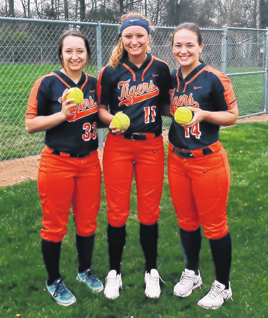 Submitted photo Neveah Clark, Gracie Groves and Kate Schieber all went yard during Wednesday's contest on the road against the hosting Shelby Lady Whippets. Galion extended their winning streak to 12 games with a 10-0 drubbing of their Mid-Ohio Athletic Conference foes.