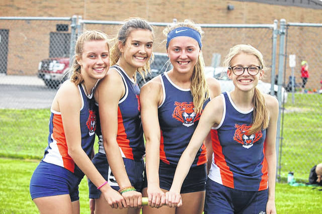 Submitted photo (From left to right) Ava Smith, Zaynah Tate, Sari Conner and Brooklyn Gates finished fourth in the 4x800-meter relay at the district meet in Oak Harbor on Wednesday with a time of 9:56.20. In the process, that group of girls broke the Galion school record time that stood for 28 years and was originally held by a team that included the mothers of Smith and Gates.