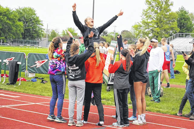 Submitted photo The members of the Galion Lady Tigers track and field squad celebrate following the annoucement of their 2019 Northwest District championship. Galion tallied 102 points en route to their second straight title and will be well represented at the regional meet on Thursday and Saturday at Lexington High School.