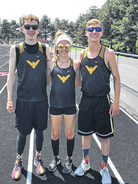 Submitted photo Alex Mutchler (pole vault), Katie Ruffener (100H, 300H) and Braxton James (800) all claimed individual district championship points for the Colonel Crawford track team. Mutchler and Ruffener qualified for regionals in all four of their respective events while James will be in action in two for the Eagles.