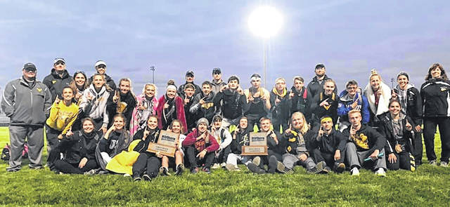 Submitted photo Both the boys and girls track and field teams from Colonel Crawford claimed team titles at the Northern-10 Athletic Conference meet on Friday at Upper Sandusky. The boys team has now won five in a row while the Lady Eagles earned their fourth title in five seasons (2015, 2016, 2017, 2019).