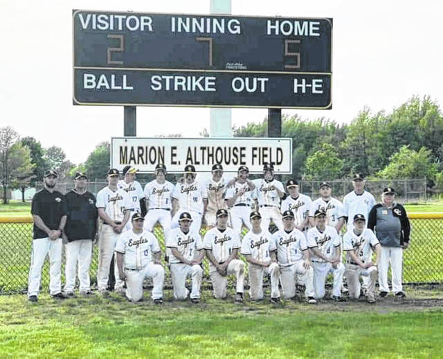 Submitted photo The Colonel Crawford Eagles baseball team claimed a sectional championship on Thursday on their home field, defeating the visiting Tiffin Calvert Senecas; 5-2. Crawford will now clash with the Plymouth Big Red in district semifinals action on Wednesday, May 22 in Galion at Heise Park.