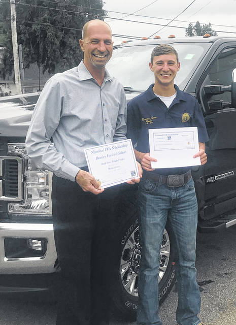 Courtesy photo Colonel Crawford's Braxton James was the winner of a $1,000 scholarship courtesy of Built Ford Tough Trucks and Donley Ford of Galion. James attended Pioneer Career and Technology Center. James plans to attend The Ohio State University Agricultural Technical Institute in the fall.