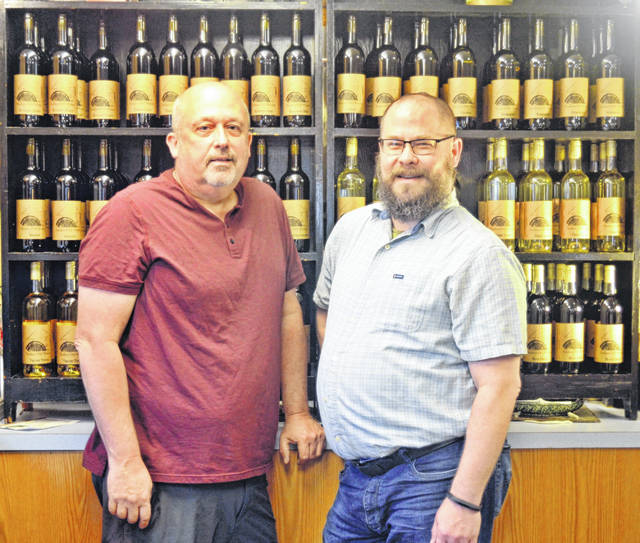 Jerry Newell, left, and Rick Mitchell, owners of the newly opened Bunker's Mill Winery in Cardington.
