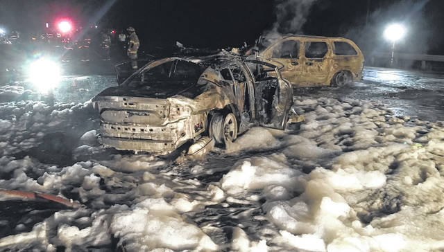 Three people, including an Ohio State Highway Patrol trooper, were injured in Thursday's crash and fire along Interstate 71.