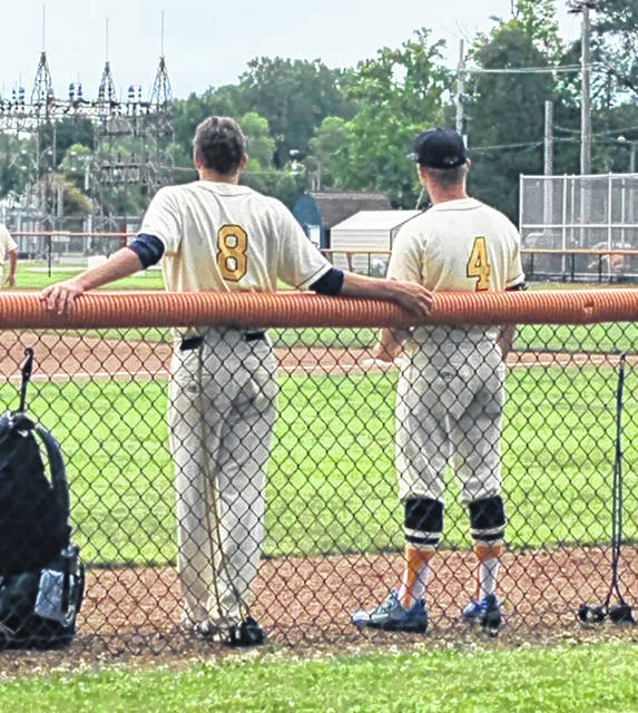 Submitted photo Garrett Kuns (8) and Chase Jessee (4) take in the action earlier this season for the Galion Graders. Kuns was busy on Thursday night for the home squad as he drove in JP Bitzenhofer for the winning run as Galion upended the St. Clair Green Giants by a score of 12-11 in 10 innings.