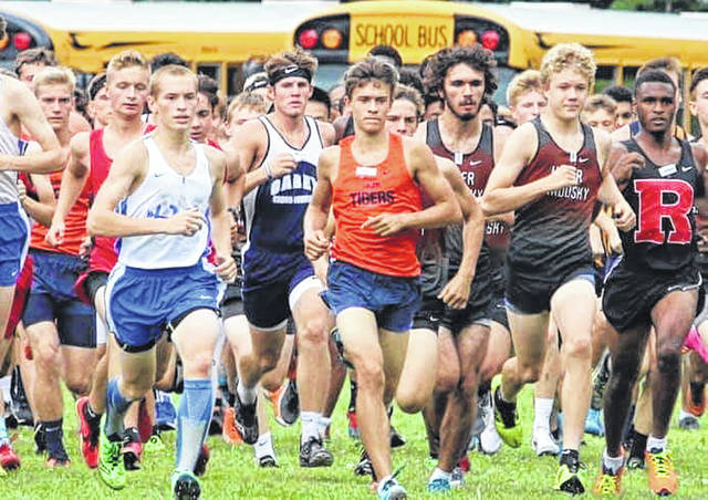 Photo courtesy of Noresa Nickels The Galion Tigers were off and running to begin their season on Tuesday in Upper Sandusky. Braxton Tate started out at the front of the boys pack and that's where he would stay en route to claiming the individual title for the Tigers.