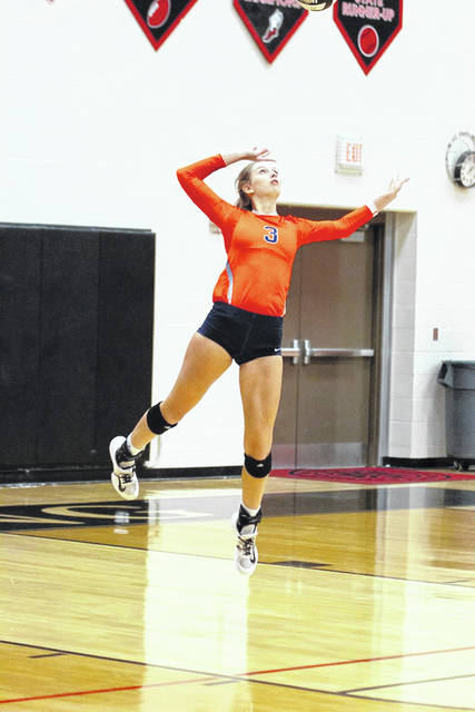 Photo submitted courtesy of Erin Miller The Galion Lady Tigers Taylor Keeran serves during Thursday's road contest at Harding. Keeran, who played for the Prexies her first three years, and Galion swept their hosts in three sets to improve to 4-1 overall in 2019, including a perfect, 3-0 mark in conference play.
